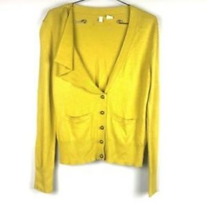 Anthropologie Moth Cardigan Button Front Ruffle